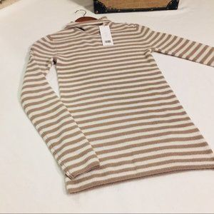 Vince Striped Cashmere Turtleneck Ribbed Sweater
